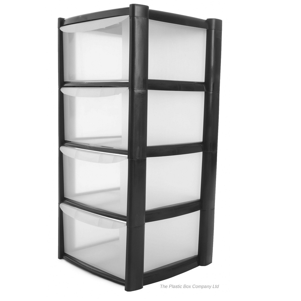 buy 4 drawer plastic storage tower unit 4 tier plastic storage trolley. Black Bedroom Furniture Sets. Home Design Ideas