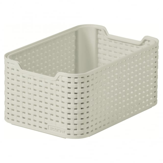 Buy Small Rattan Style Plastic Stacking Basket Cream