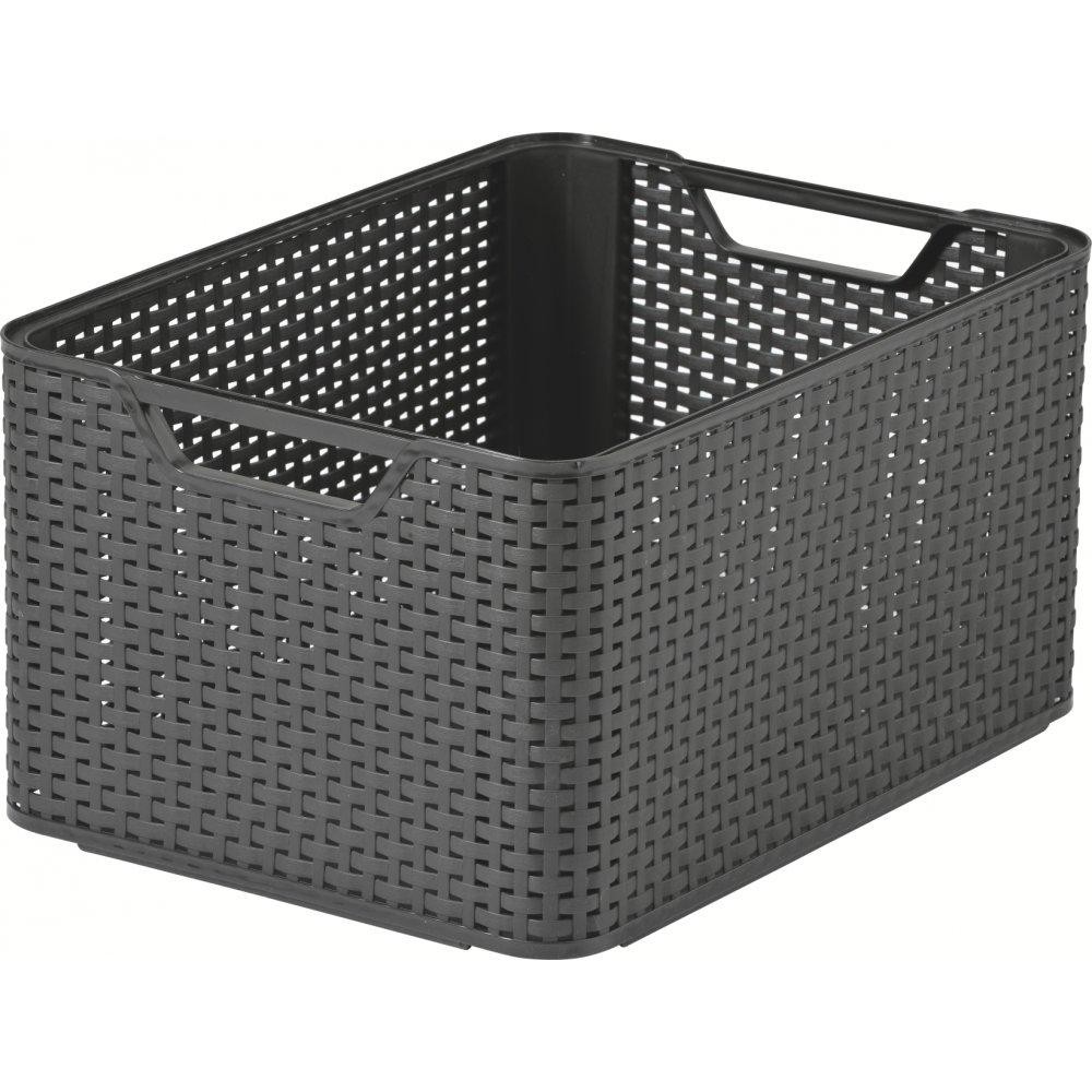 Buy Large Dark Brown Stacking Box Plastic Rattan Style
