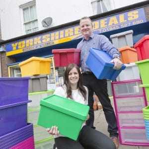 Boxing clever, Gary and Lisa Lyons outside the hardware shop in Thirsk which spawned their online business PlasticBoxShop.
