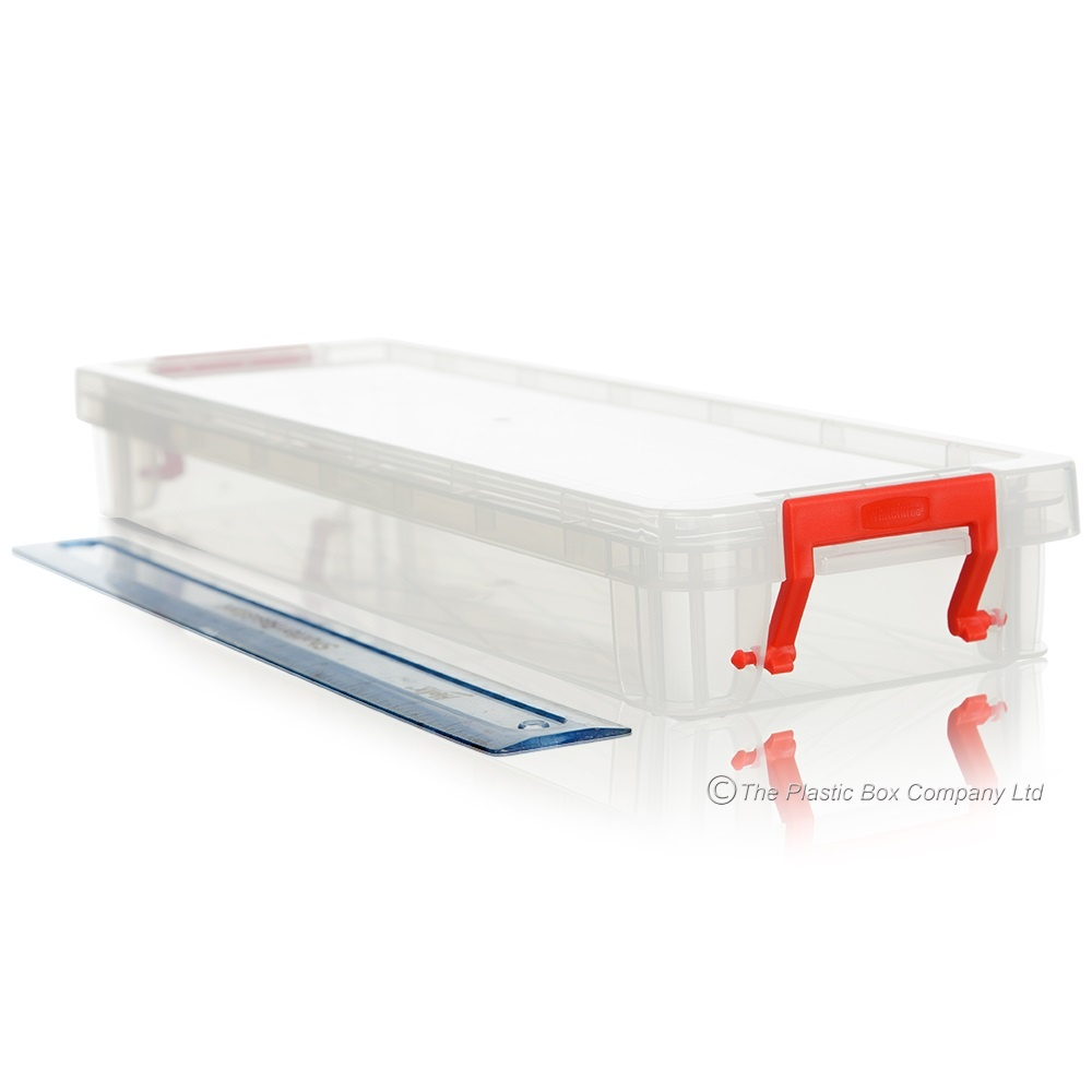 Buy long shallow plastic storage box for rulers knitting for Plastic craft boxes with lids