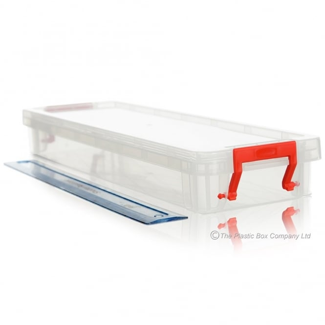 1.25 Litre Allstore Plastic Storage Box with Lid / Shallow Ruler Box