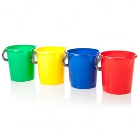 10 Litre Casa Round Plastic Bucket with Handle - Primary Colours