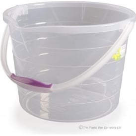 13 Litre Clear Stepped Plastic Bucket with Handle
