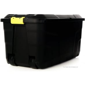 Strata 145 Litre Premium Quality Lockable Plastic Box with Clip on Lid and Wheels
