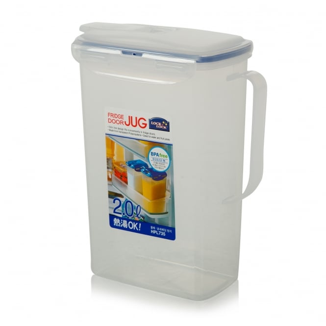 2 Litre Fridge Door Jug with Seal Tight Lid and Flip Top Spout