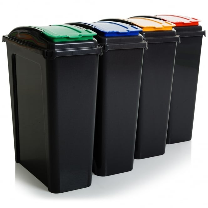 25 Litre Tall Slim Plastic Recycling Bin with Lid