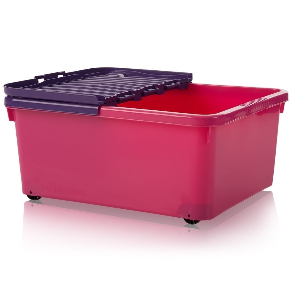 Wham Storage 30 Litre Under Bed Plastic Box With Wheels And Folding Lid