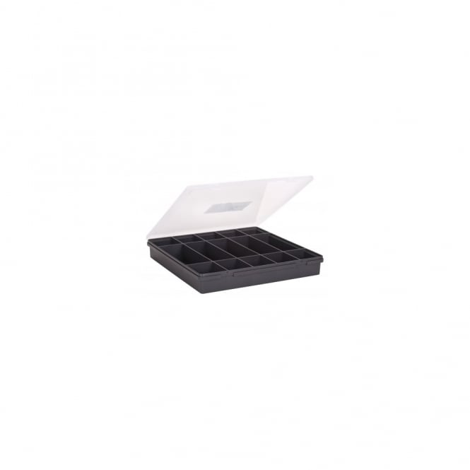 38.5cm (11.01) Square Organiser Box with Hinged Lid and 15 Compartments