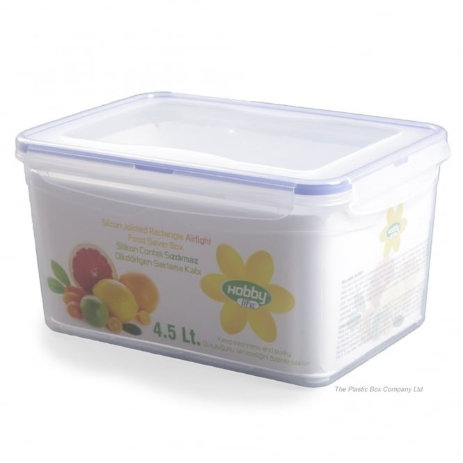 4.5 Litre Rectangular Plastic Food Storage Box With Clip Lid