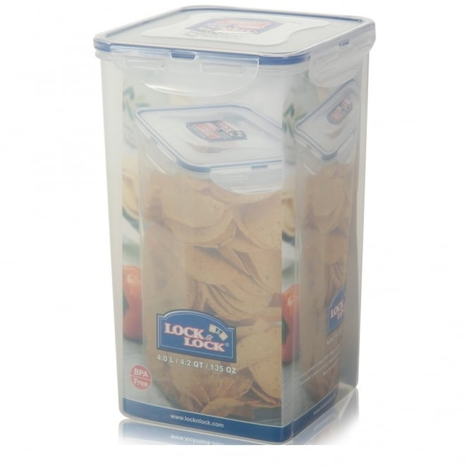 4 Litre Tall Square Plastic Cookie Jar with Airtight Rubber Seal Lid
