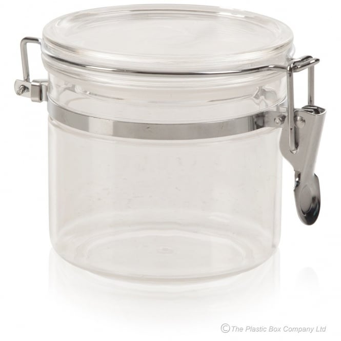 400ml Acrylic Plastic Airtight Food Canister with Metal Clip Lid