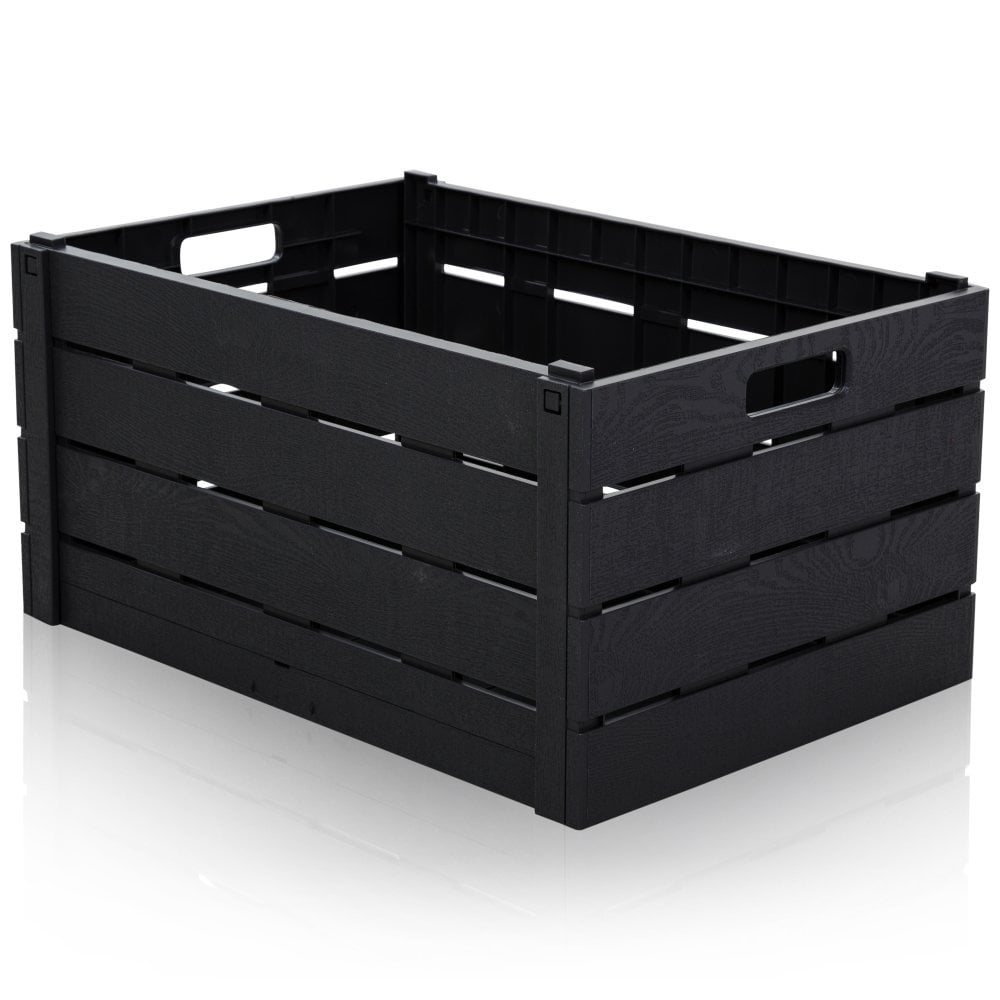 Strata 60 Litre Wood Effect Folding Collapsible Plastic Storage Crate