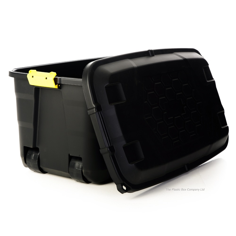 Extra Large Black Plastic Box With Trunk Lid And Wheels