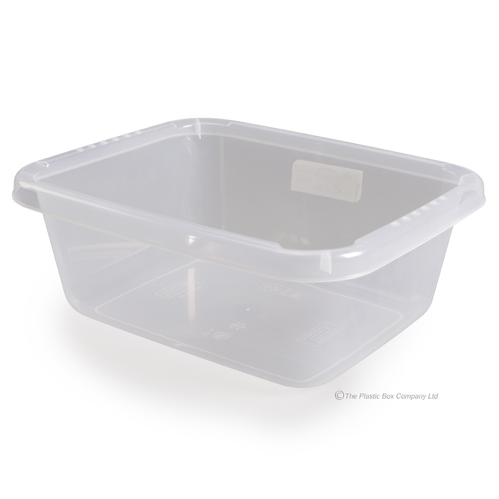 406176ad7a9d 9 Litre Large Rectangular Clear Transparent Plastic Washing Up Bowl