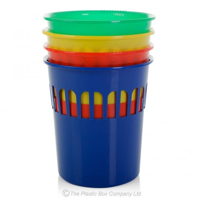 Casa Colourful Plastic Round Waste Paper Bin - Red, Green, Yellow and Blue