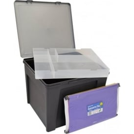 Home Office Plastic Storage Box with Organiser Tray & Suspension Files