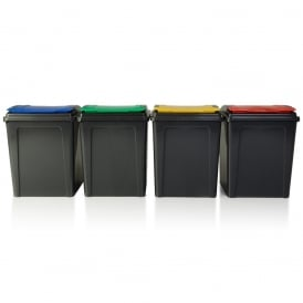 Large 50 Litre Slate Plastic Recycling Bin with Flip Lid
