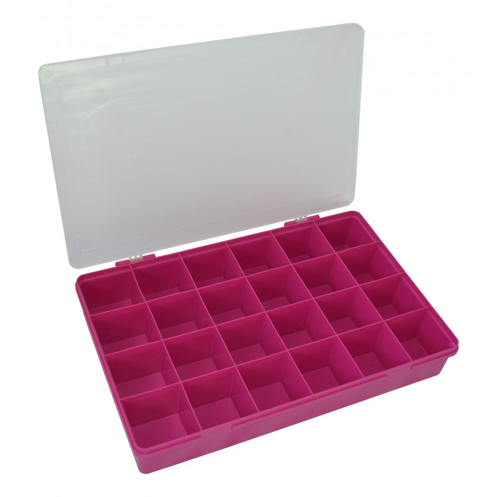 wham storage large organiser box 701 with 24 dividers fuchsiaclear 13807