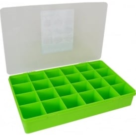 Large Organiser Box 7.01 with 24 Dividers Lime/Clear - 13806