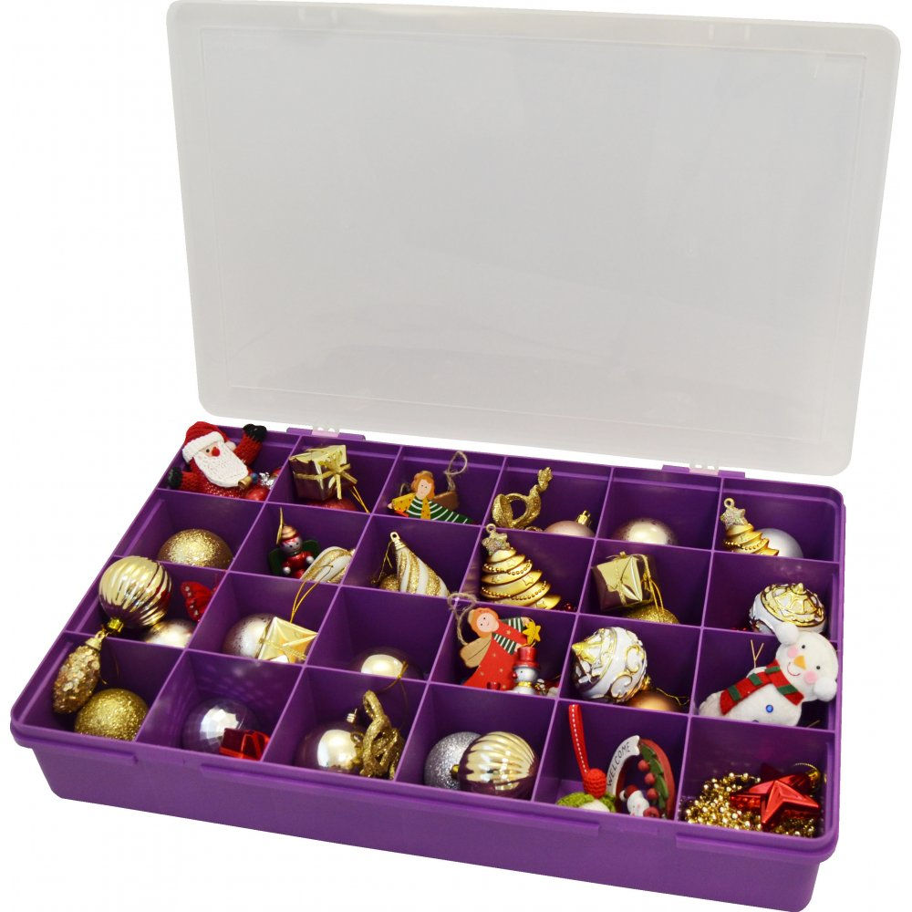 Buy Extra Large Compartment Organiser Box With Lid Violet Purple