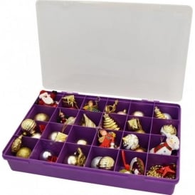 Large Organiser Box 7.01 with 24 Dividers Violet/Clear - 13805