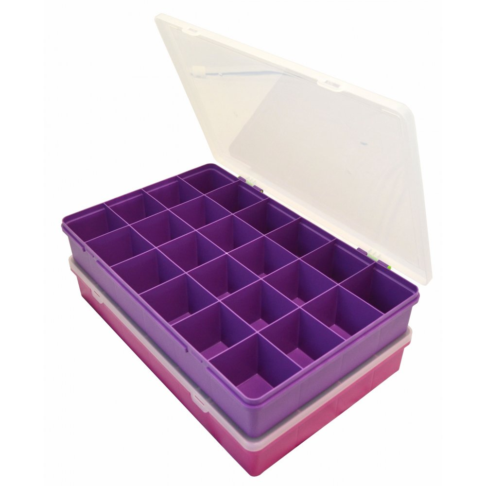 Large Organiser Box 7.01 With 24 Dividers Violet/Clear   13805