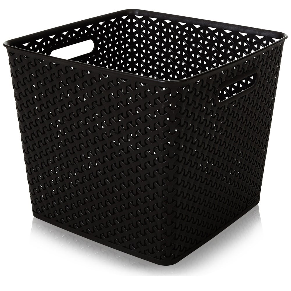 My Style 25 Litre Square Rattan Style Box   Dark Brown