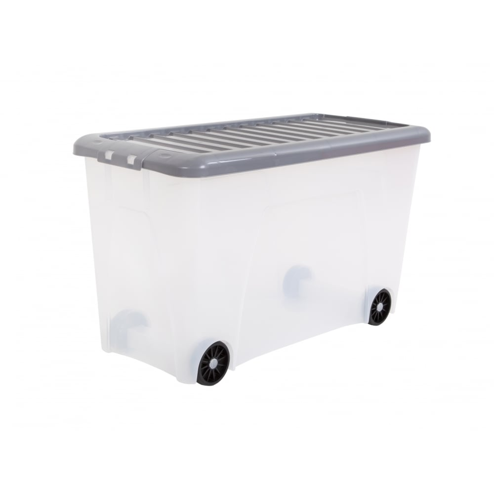Merveilleux Pack Of 12   115 Litre Nice Plastic Storage Box With Wheels And Silver Lid