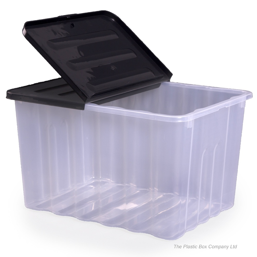 Strata Pack Of 2   110 Litre Supa Nova Large Plastic Storage Boxes And Lids