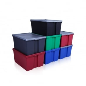 Wham Storage Pack of 2 - 150 Litre Extra Large Wham Bam Strong Tough Plastic Boxes with Lids