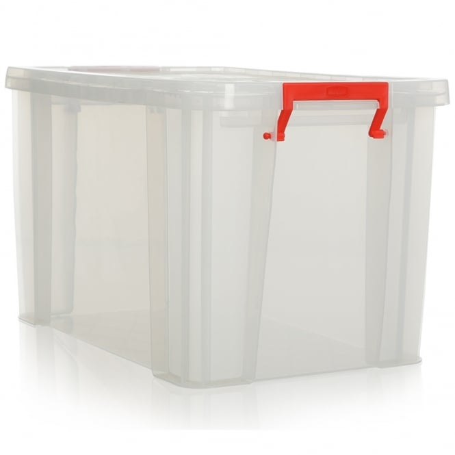 Pack of 2 - 26 Litre Allstore Plastic Box with Clip on Lid - will hold suspension files 41cm wide