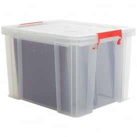 Pack of 2 - 36 Litre Allstore Foolscap A4 File Plastic Storage Box with Clip on Lid