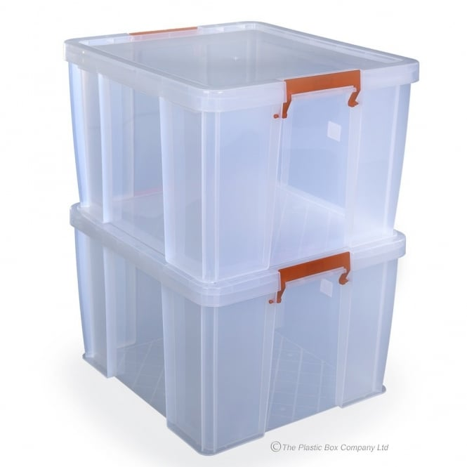 Pack of 2 - 48 Litre Allstore Filing Plastic Storage Boxes with Lids