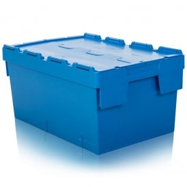 Pack of 2 - 55 Litre Heavy Duty ALC Plastic Boxes with Attached Lids