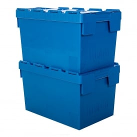 Pack of 2 - 70 Litre Heavy Duty ALC Plastic Boxes With Attached Lids