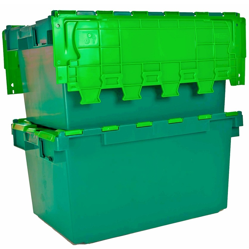 Pack of 2 - 80 Litre Heavy Duty ALC Plastic Storage Boxes With Attached Lids  sc 1 st  Plastic Box Shop : green storage containers  - Aquiesqueretaro.Com
