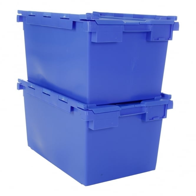 Pack of 2 - 80 Litre Heavy Duty Attached Lid ALC Box - (TC)