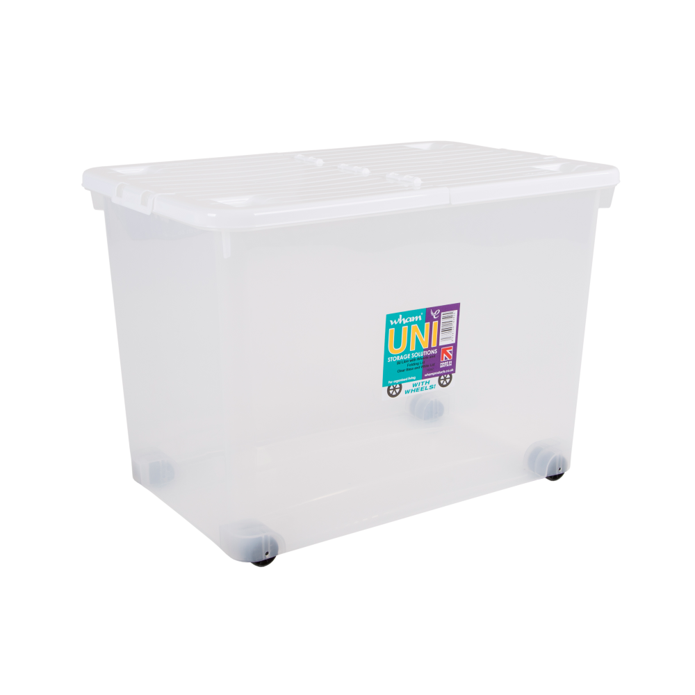Pack Of 2   80 Litre Storage Box Wheels And Folding Lid   Clear/White
