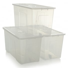 Pack of 3 - 110 Litre Crystal Plastic Storage Boxes with Lids