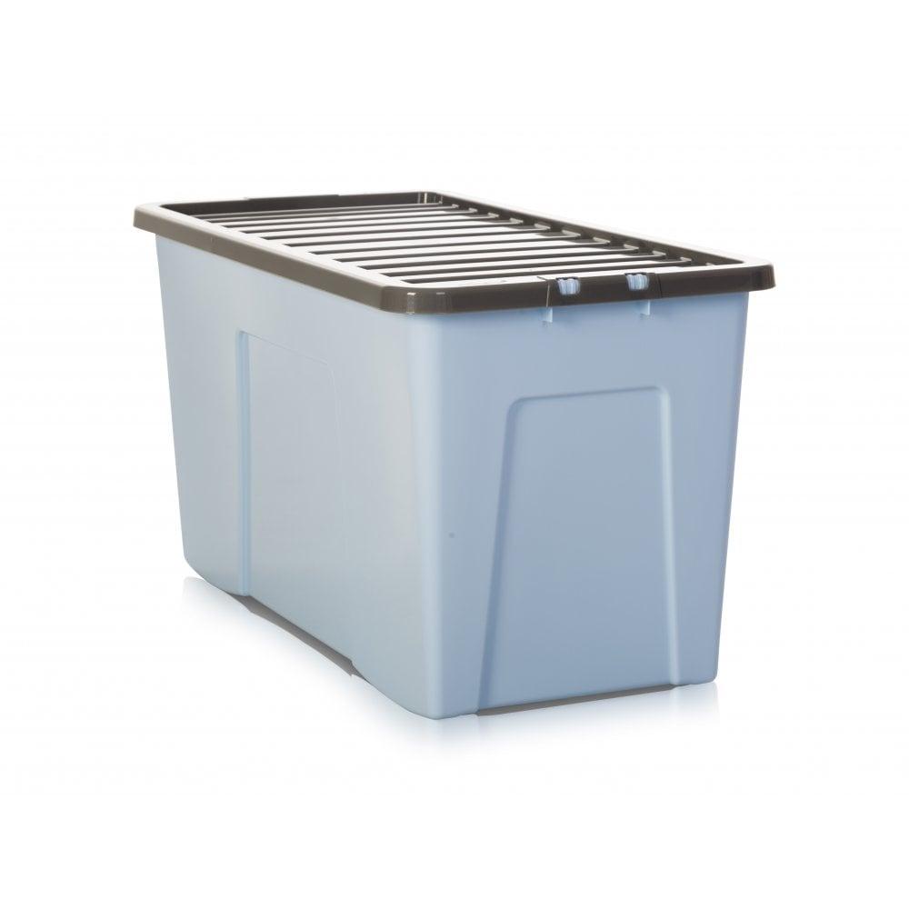 110l Blue XL Storage Box & Lid | 3 Pack | Plastic Box Shop