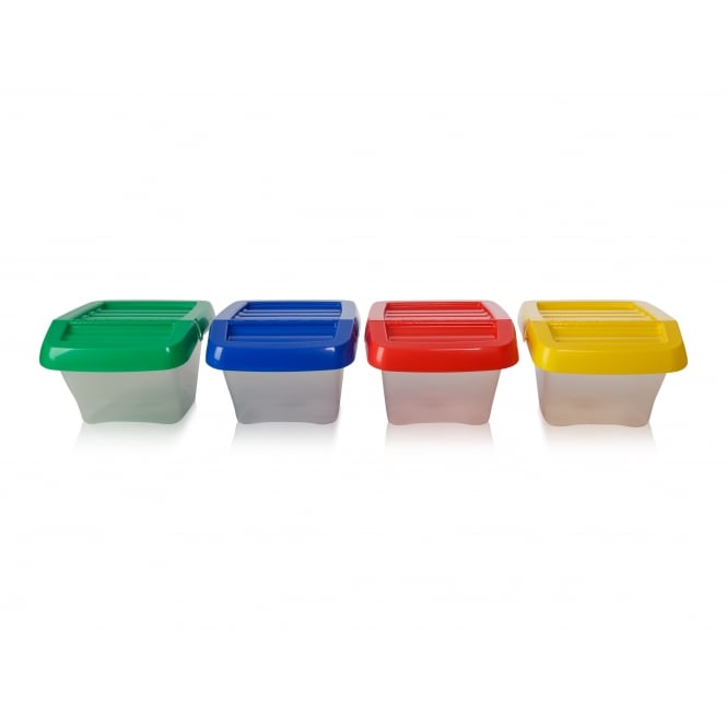 Pack of 3 - 30 Litre Stacking Plastic Recycling Box - Clear with Hinged Lid