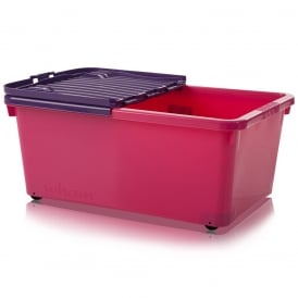 Pack of 3 - 45 Litre Plastic Storage Boxes with Wheels and Folding Lids