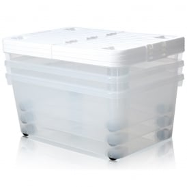 Pack of 3 - 45 Litre Uni Plastic Storage Box With Wheels and Folding Lid