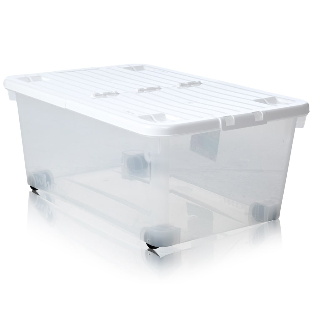 Pack Of 3   45 Litre Uni Plastic Storage Box With Wheels And Folding Lid