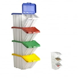 Pack of 3 - 50 Litre Capacity Multi Functional Plastic Storage Recycling Boxes with Lids