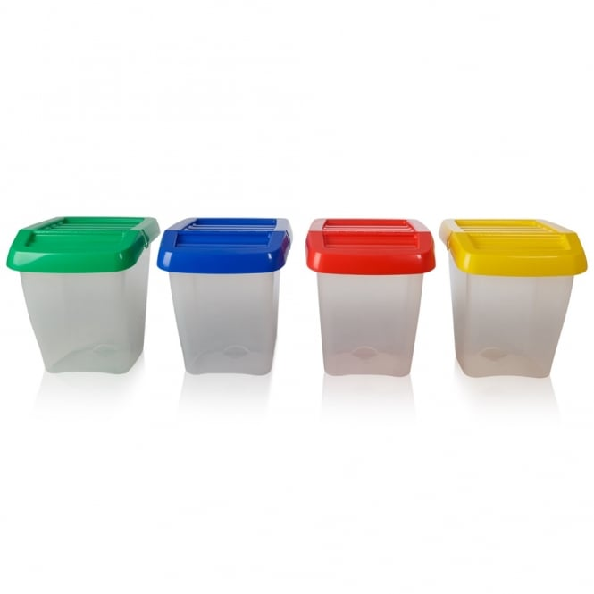 Pack of 3 - 50 Litre Stacking Plastic Recycling Box - Clear with Hinged Lid