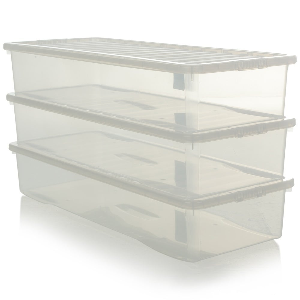 Pack Of 3 55 Litre Extra Long Shallow Under Bed Storage Boxes With Lids