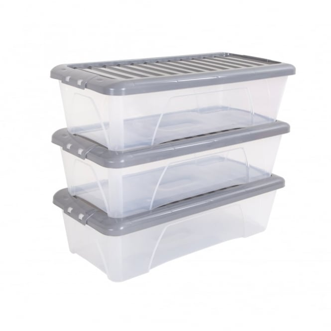 Pack of 3 - 55 Litre Nice Boxes with Lids - Silver Lid