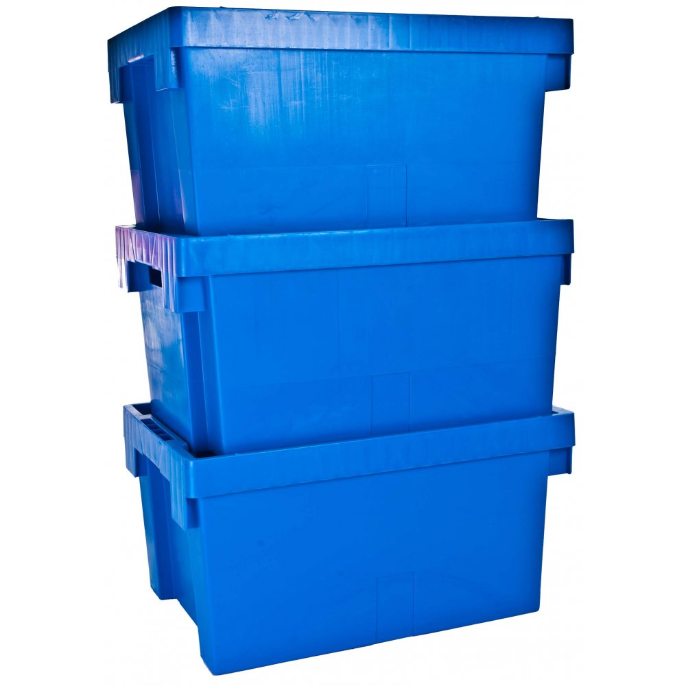 buy large 56lt heavy duty plastic tote box without lid